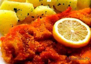 Венский шницель с отварным картофелем