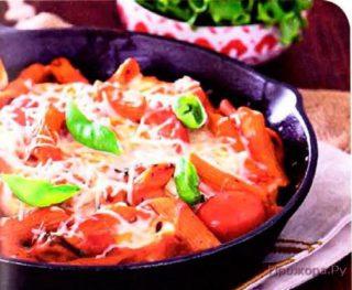 Запеченные макароны с томатом и сыром