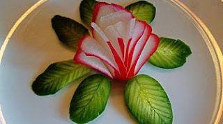 Карвинг. Цветок из редиса. HOW TO MAKE FLOWERS OF RADISHES! LEAVES OF CUCUMBER! CARVING RADISH AND CUCUMBER