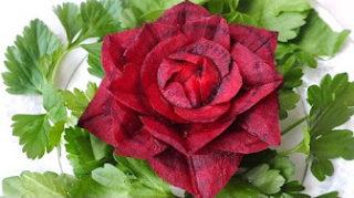 Карвинг из свеклы роза Vegetable and Fruit Carving